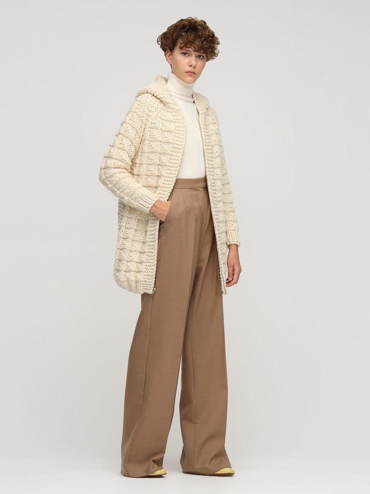 GUDRUN & GUDRUN Daphne Wool Knit Zip-up Cardigan in ivory