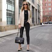 jeans,black skinny jeans,cropped jeans,high waisted jeans,mules,chanel bag,black bag,blazer,black t-shirt