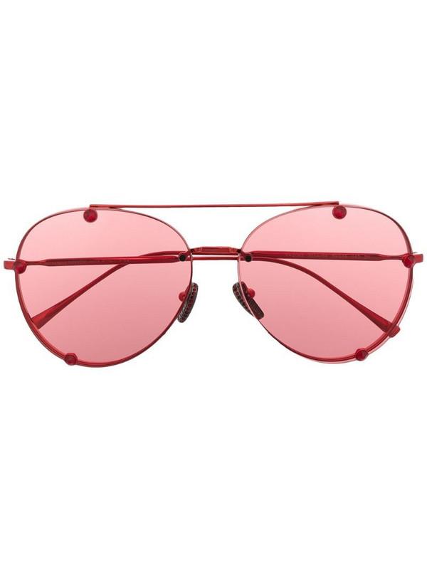 Valentino Eyewear VA2045 crystal-stud aviator sunglasses in red