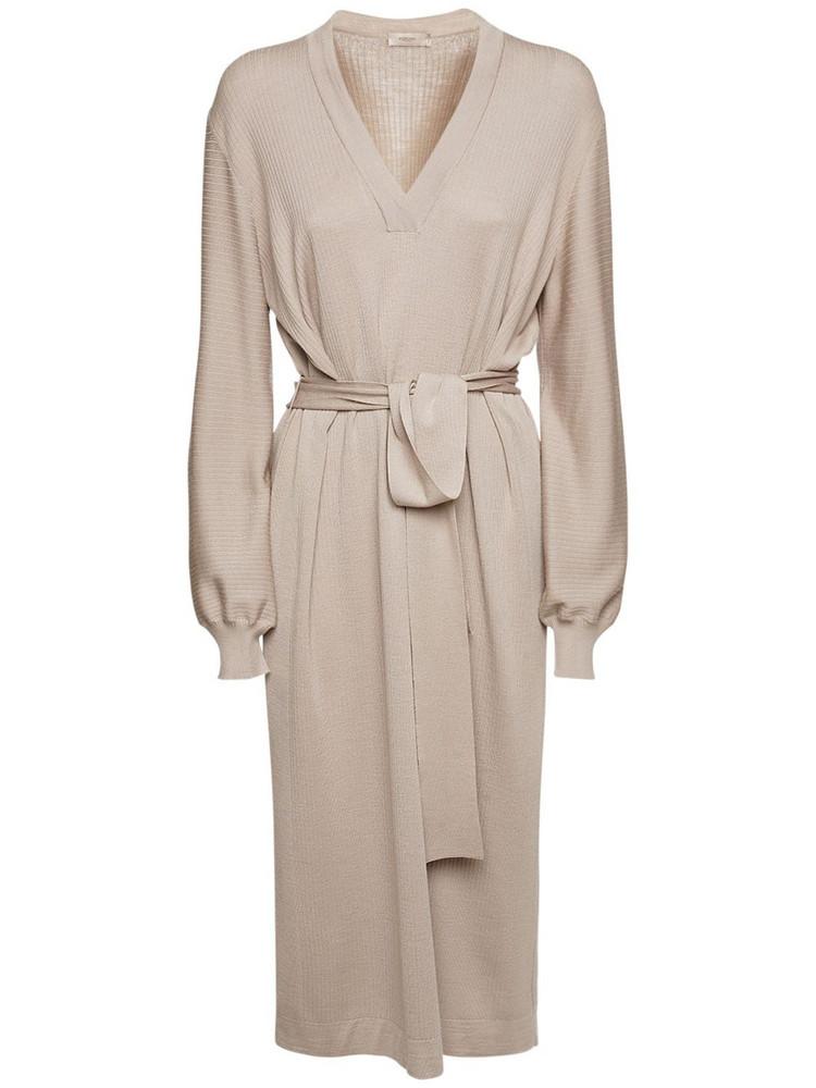 AGNONA Wool & Silk Knit Midi Dress W/ Belt in beige