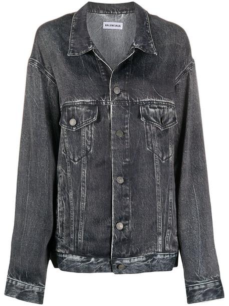 Balenciaga oversized denim print jacket in black