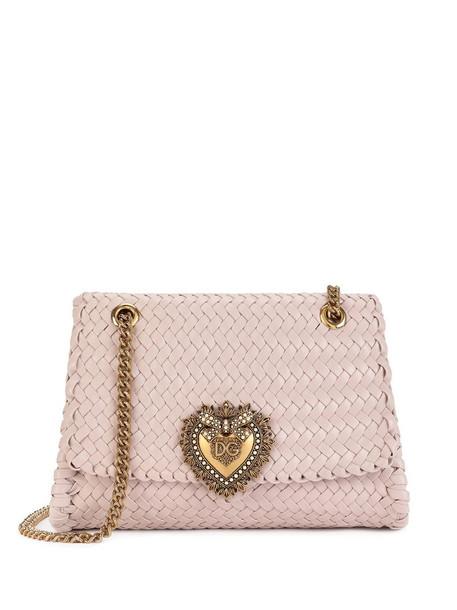 Dolce & Gabbana Devotion woven shoulder bag in pink
