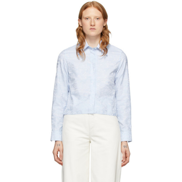 Off-White Blue Waves Cropped Shirt