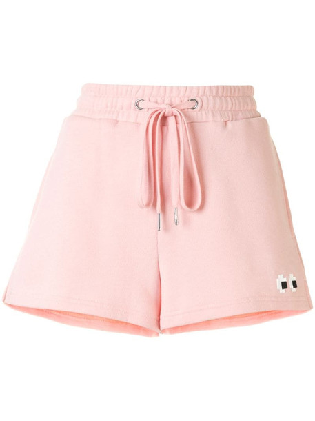 Mostly Heard Rarely Seen 8-Bit drawstring track shorts in pink