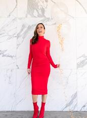 sydne summer's fashion reviews & style tips,blogger,sweater,dress,jewels,shoes,red boots,red dress,bodycon dress