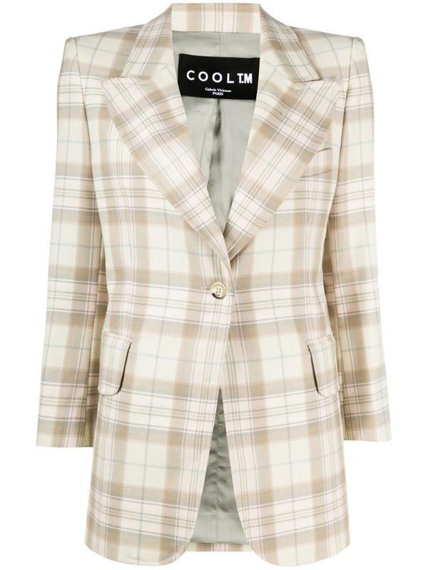 COOL T.M check wool blazer in neutrals