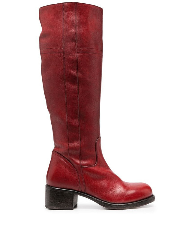 Moma knee-high leather boots in red