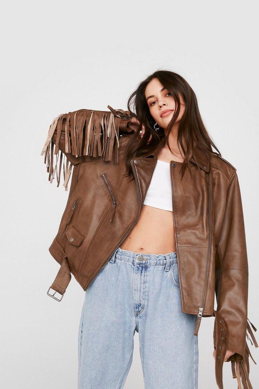 Leather Belted Fringed Moto Jacket