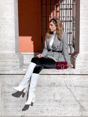 cosamimetto,blogger,jacket,leggings,bag,belt,shoes,knee high boots,white boots,spring outfits,gucci belt,blazer