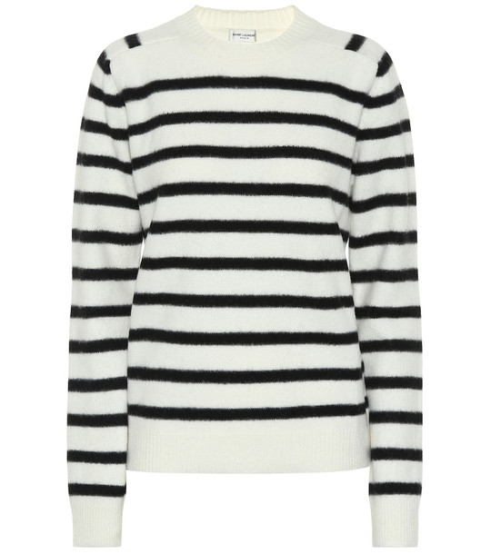 Saint Laurent Striped wool sweater in white