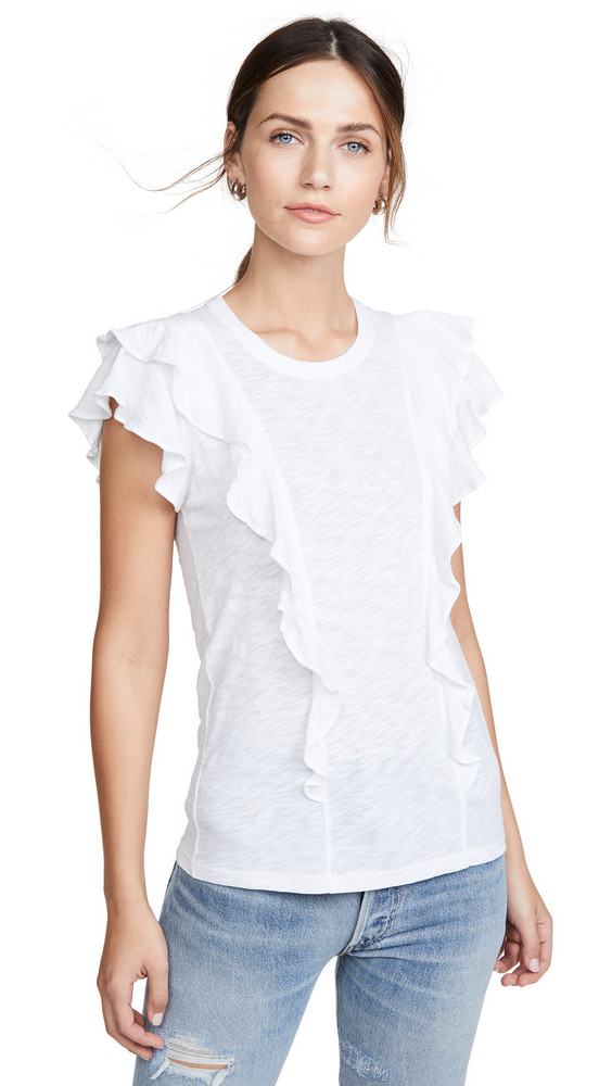 Veronica Beard Jean Bea Short Sleeve Ruffle Tee in white