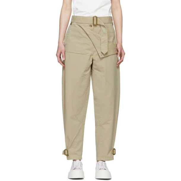 JW Anderson Beige Front Fold Utility Trousers