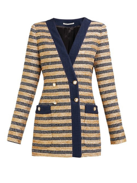 Alessandra Rich - Double Breasted Striped Tweed Jacket - Womens - Black Gold