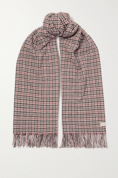 rag & bone - Fringed Checked Wool Scarf - Gray
