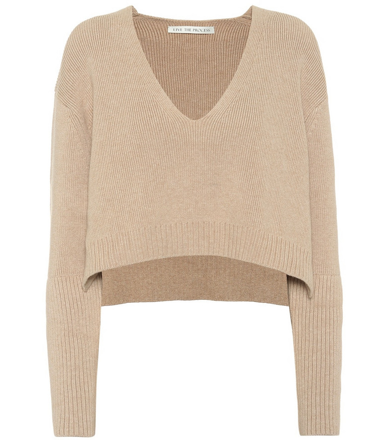 Live The Process Cropped cotton-blend sweater in beige