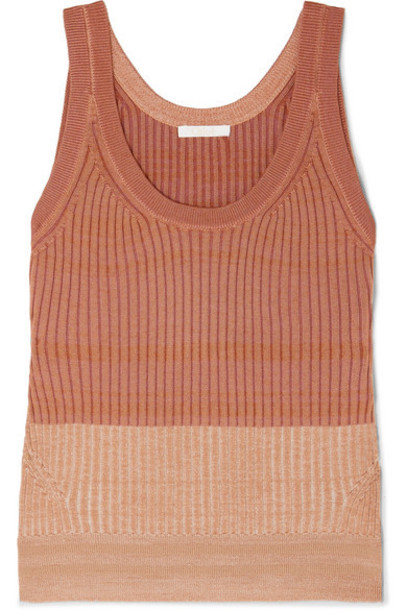 Chloé Chloé - Ribbed Wool-blend Tank - Bronze