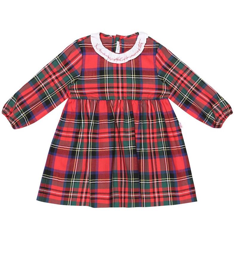 Il Gufo Checked cotton dress in red