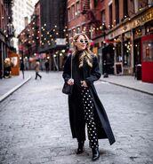 jeans,black jeans,black and white,flare jeans,black boots,black coat,long coat,black bag,polka dots,black turtleneck top