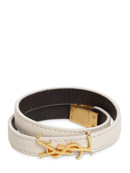 SAINT LAURENT Double Leather Bracelet in white