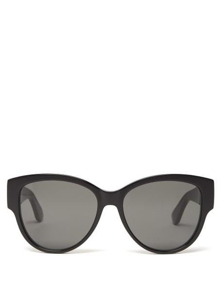 Saint Laurent - Monogram Logo Cat Eye Acetate Sunglasses - Womens - Black