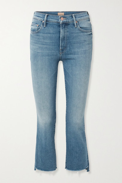 Mother - The Insider Cropped Frayed High-rise Flared Jeans - Blue