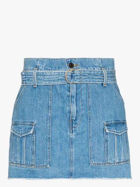 FRAME Paperbag belted waist denim skirt