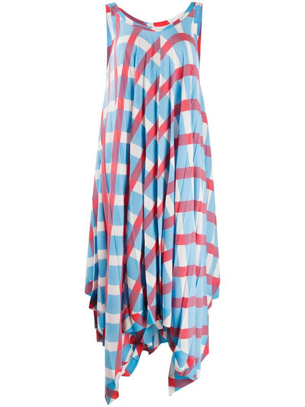Issey Miyake check print pleated dress in blue