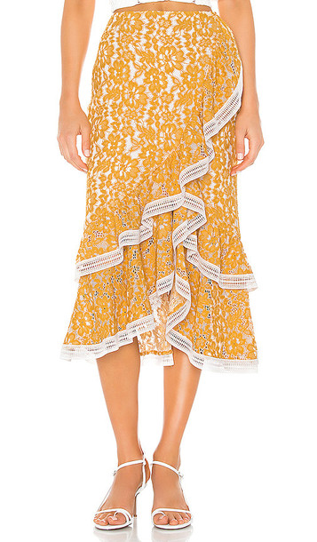 X by NBD Bazzi Midi Skirt in Yellow