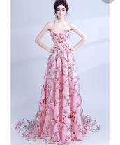 dress,floral prom dress,prom dress,pink prom dress,tulle prom dress,pink floral prom dress,pink,pink dress