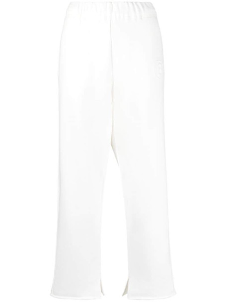 MM6 Maison Margiela number motif track pants in white
