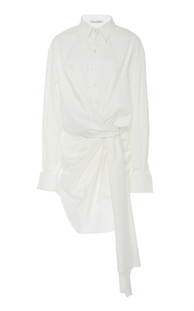 Oscar de la Renta Asymmetric Tie-Front Cotton-Blend Mini Dress Size: 8 in white