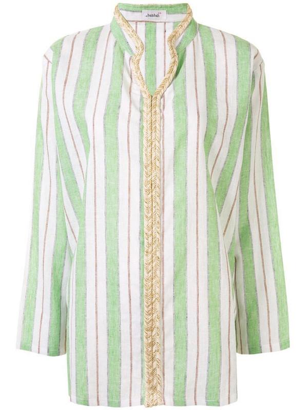 Bambah striped V-neck shirt in green