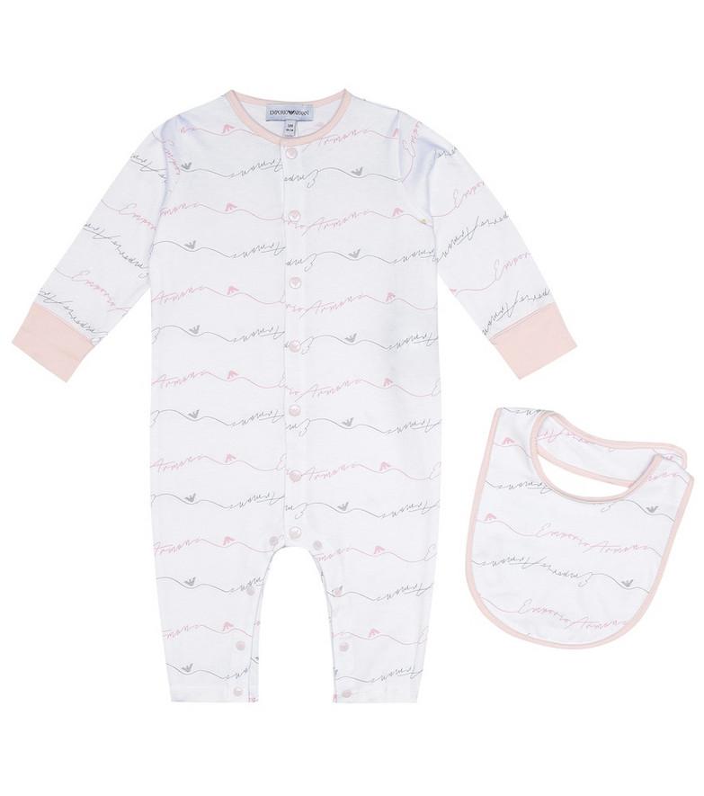 Emporio Armani Kids Printed cotton bodysuit and bib set in pink