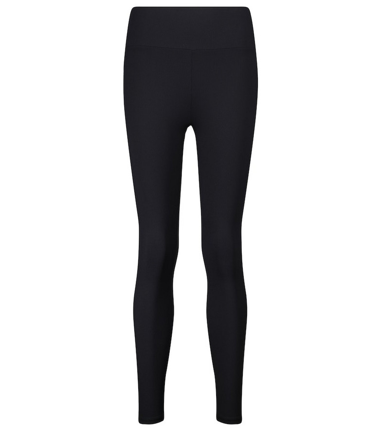Lanston Sport Nolan high-rise ribbed-knit leggings in black