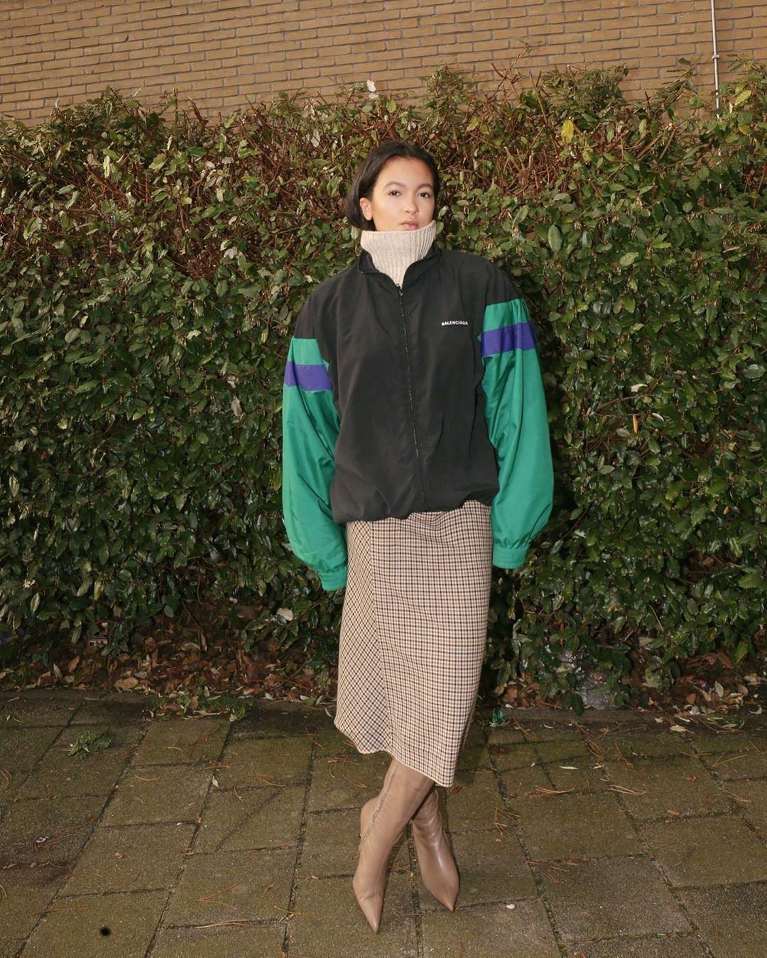 jacket balenciaga knee high boots heel boots midi skirt plaid skirt turtleneck sweater