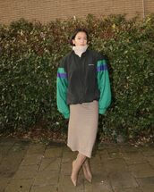 jacket,balenciaga,knee high boots,heel boots,midi skirt,plaid skirt,turtleneck sweater