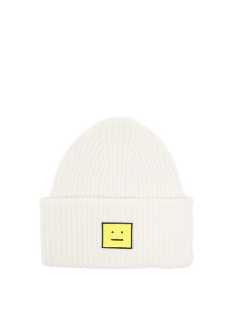 Acne Studios - Pansy Face Patch Wool Beanie Hat - Womens - White Multi