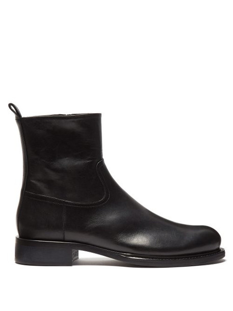 Ann Demeulemeester - Zipped Leather Ankle Boots - Womens - Black