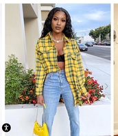 blouse,yellow top,plaid shirt,yellow,fall outfits