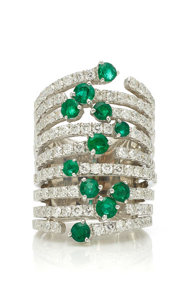 Graziela 18K White Gold Diamond and Emerald Ring in silver