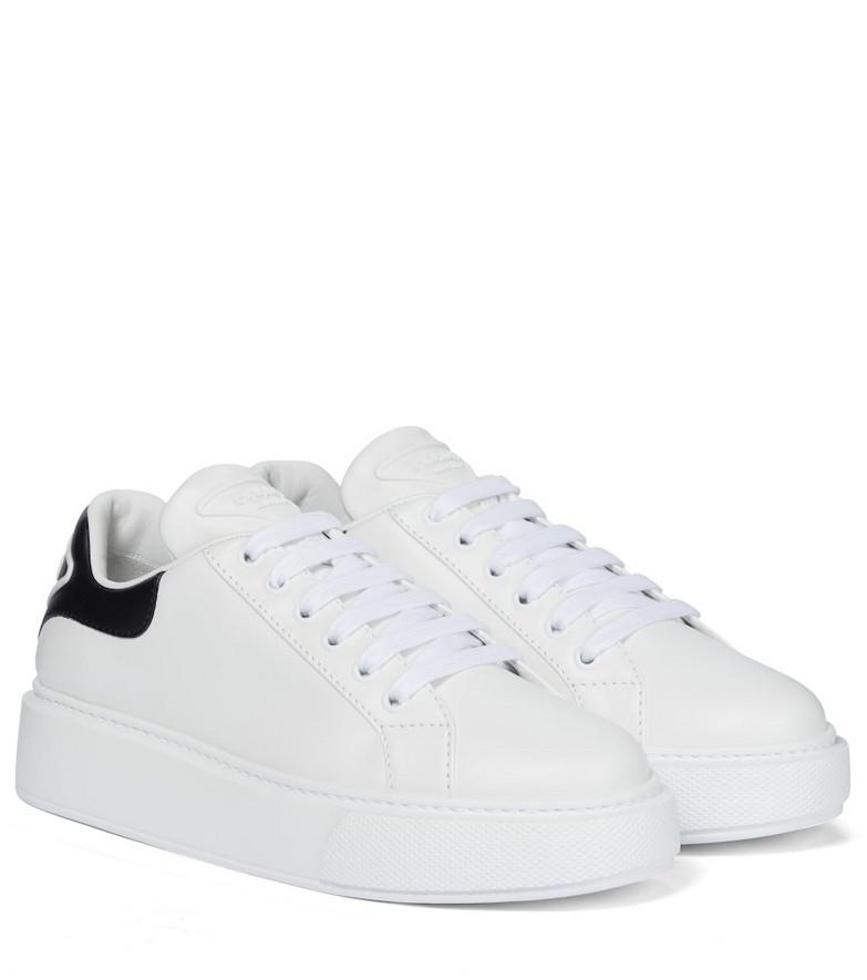 Prada Macro leather sneakers in white
