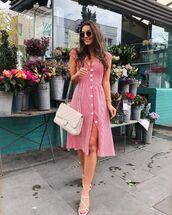 dress,midi dress,striped dress,zara,white sandals,white bag