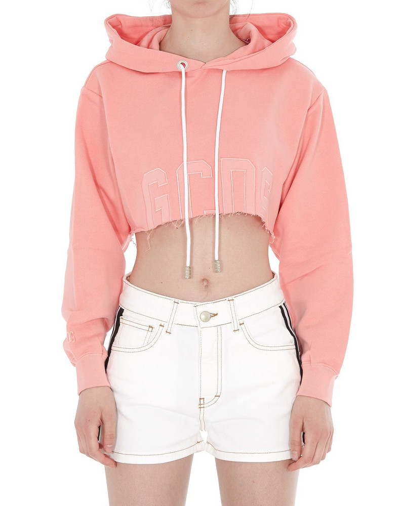 Gcds Crop Monochrome Hoodie in pink