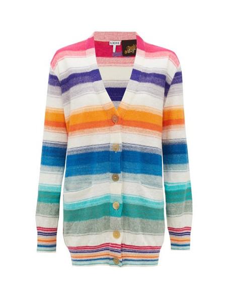 Loewe Paula's Ibiza - Striped Knitted Cardigan - Womens - Multi