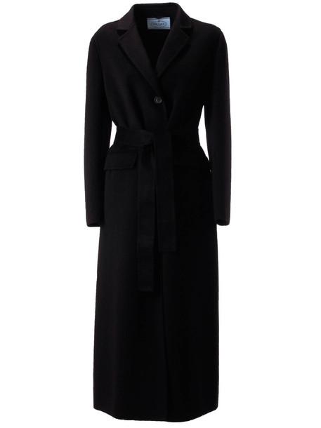 Prada Belted Coat in nero