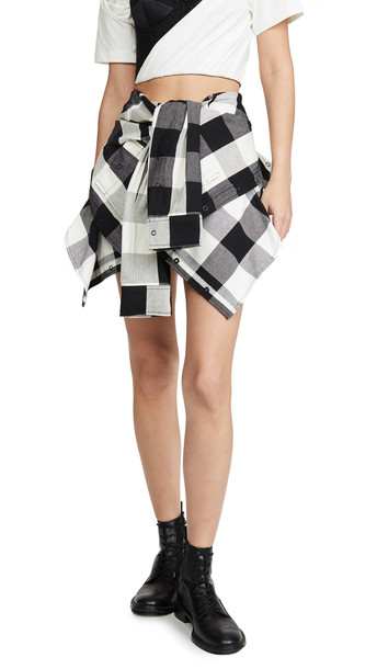 Alexander Wang Plaid Tie Front Skort in black / white