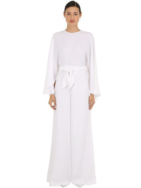SARA BATTAGLIA Viscose Crepe Jumpsuit W/chiffon Crepe in white