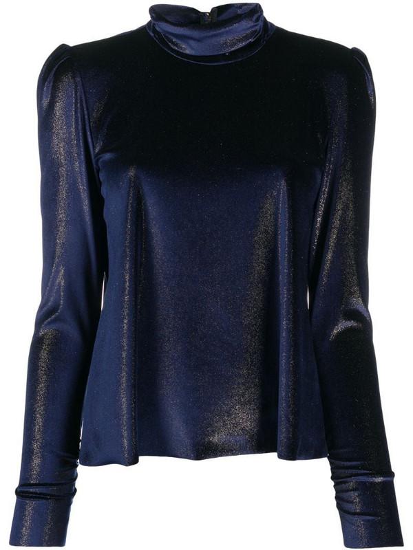 Forte Forte chenille ring collar blouse in blue