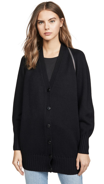 Alexander Wang Zip Shoulder Cardigan in black