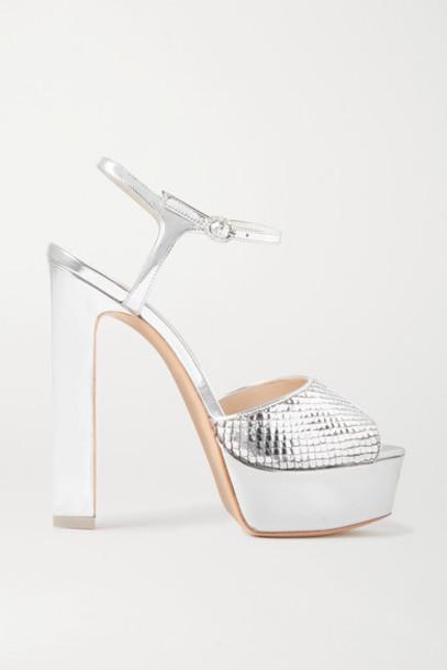 Sophia Webster - Natalia Metallic Snake-effect Leather Platform Sandals - Silver